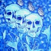 """Blue Skulls, Flowers and Butterflies"" 2015 Acrylic on Canvas by Phillip J. Speciale"