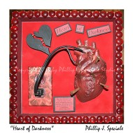 Dark shadow box showing a human heart plugged into the wall