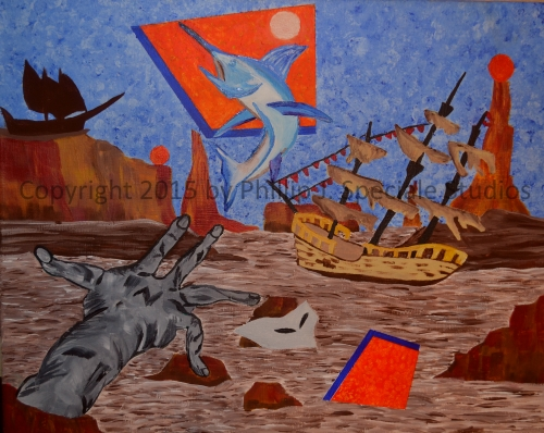 """""""Shipwreck"""" 2015 20 x 16 Acrylic on canvas by Phillip J. Speciale"""
