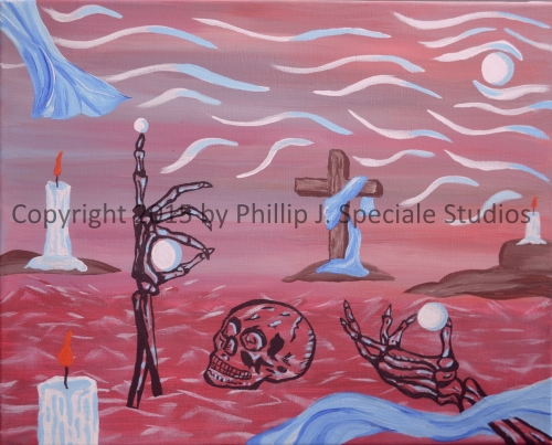 """For What Shall It Profit """"A Man, If He Shall Gain The Whole World, And Lose His Soul?"""" 2015 20"""" x 16"""" Acrylic on canvas by Phillip J. Speciale"""