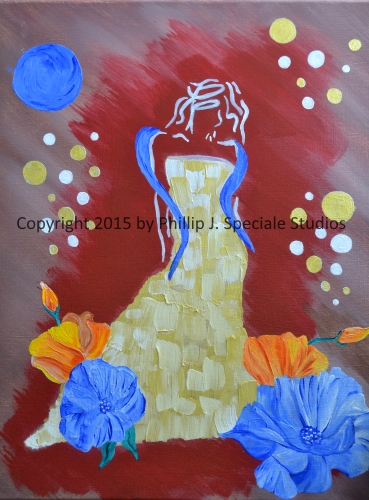 """""""Lady in Gold"""" 2015 16″ x 20″ Acrylic on canvas by Phillip J. Speciale"""