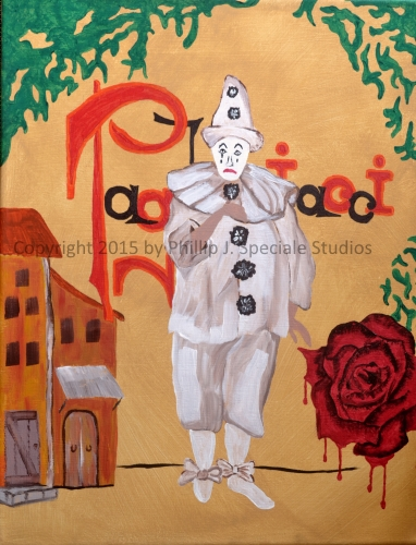 """""""I Pagliacci"""" 2015 16"""" x 20"""" Acrylic on canvas by Phillip J. Speciale"""