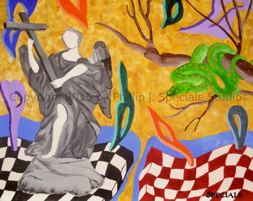 """""""Good and Evil"""" 2015 20 x 16 acrylic on canvas by Phillip J. Speciale"""
