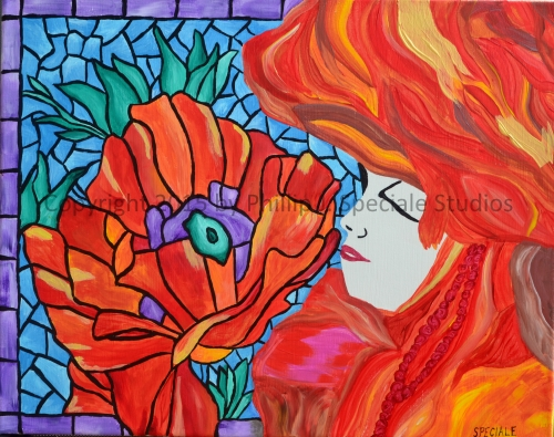 """""""Lady in Orange"""" 2015 16"""" x 20"""" Acrylic on canvas by Phillip J. Speciale"""