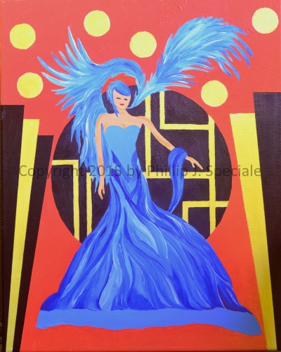 """""""Lady in Blue"""" 2015 16"""" x 20"""" Acrylic on canvas by Phillip J. Speciale"""
