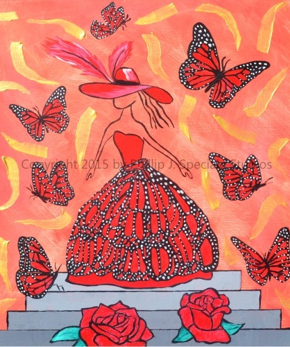 """""""Butterfly Lady"""" 2015 16"""" x 20"""" Acrylic on canvas by Phillip J. Speciale"""