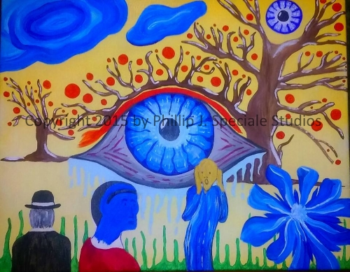 """""""Blue Eyes"""" 2015 20"""" x 16"""" Acrylic on canvas by Phillip J. Speciale"""
