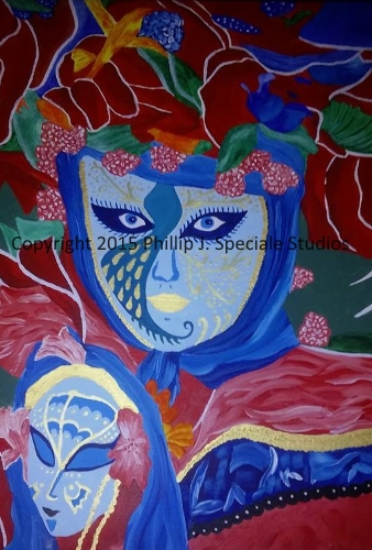 """""""Masquerade"""" 16"""" x 20"""" Acrylic on canvas by Phillip J. Speciale"""