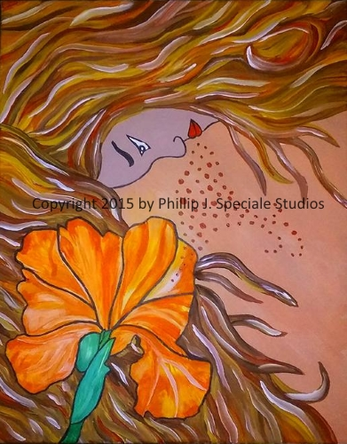 """""""Hair"""" 16"""" x 20"""" Acrylic on canvas by Phillip J. Speciale"""