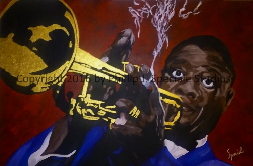 """""""The Golden Trumpet"""" 36"""" x 24"""" Acrylic on canvas. by Phillip J. Speciale"""