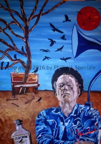 """""""Tom Waits: Piano and Crow"""" 30"""" x 40"""" Acrylic on canvas by PhillipJ. Speciale"""