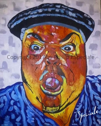"""""""The Comedian"""" 16″ x 20″ Acrylic on canvas. by Phillip J. Speciale"""
