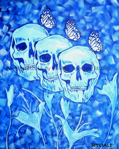 """""""Blue Skulls, Flowers and Butterflies"""" 2-15 16 x 20 acrylic on canvas by Phillip J. Speciale"""